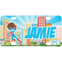 Superhero in the City Mini / Bicycle License Plate (Personalized)