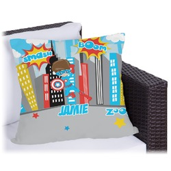 Superhero in the City Outdoor Pillow (Personalized)