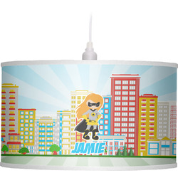Superhero in the City Drum Pendant Lamp Linen (Personalized)