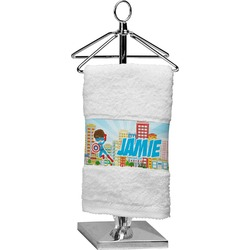 Superhero in the City Cotton Finger Tip Towel (Personalized)