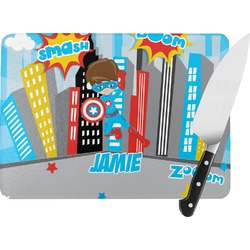 Superhero in the City Rectangular Glass Cutting Board (Personalized)