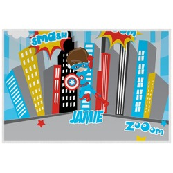 Superhero in the City Laminated Placemat w/ Name or Text