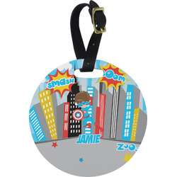 Superhero in the City Round Luggage Tag (Personalized)