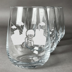 Superhero in the City Wine Glasses (Stemless Set of 4) (Personalized)