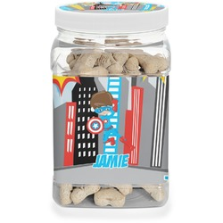 Superhero in the City Pet Treat Jar (Personalized)