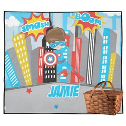 Superhero in the City Outdoor Picnic Blanket (Personalized)