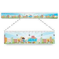 """Superhero in the City Plastic Ruler - 12"""" (Personalized)"""