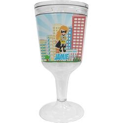 Superhero in the City Wine Tumbler - 11 oz Plastic (Personalized)