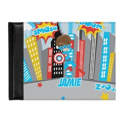 Superhero in the City Genuine Leather Guest Book (Personalized)