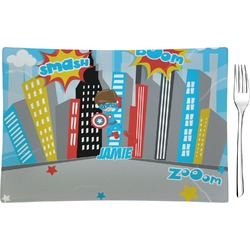 Superhero in the City Glass Rectangular Appetizer / Dessert Plate - Single or Set (Personalized)