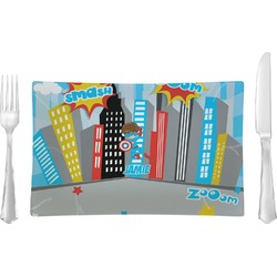Superhero in the City Rectangular Glass Lunch / Dinner Plate - Single or Set (Personalized)
