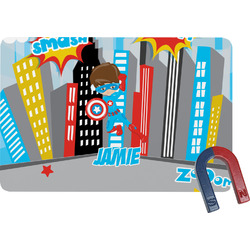 Superhero in the City Rectangular Fridge Magnet (Personalized)