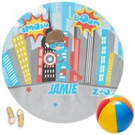 Superhero in the City Round Beach Towel (Personalized)