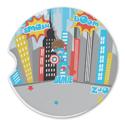 Superhero in the City Sandstone Car Coasters (Personalized)