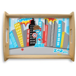 Superhero in the City Natural Wooden Tray (Personalized)
