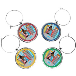 Superhero in the City Wine Charms (Set of 4) (Personalized)
