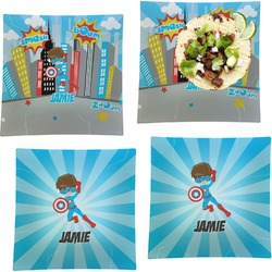 """Superhero in the City Set of 4 Glass Square Lunch / Dinner Plate 9.5"""" (Personalized)"""