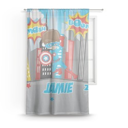"Superhero in the City Sheer Curtain - 50""x84"" (Personalized)"