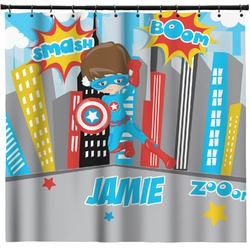 Superhero in the City Shower Curtain (Personalized)