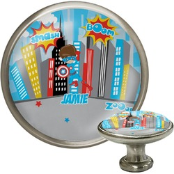 Superhero in the City Cabinet Knob (Silver) (Personalized)