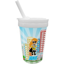 Superhero in the City Sippy Cup with Straw (Personalized)