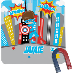 Superhero in the City Square Fridge Magnet (Personalized)