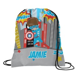 Superhero in the City Drawstring Backpack (Personalized)