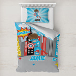 Superhero in the City Toddler Bedding w/ Name or Text