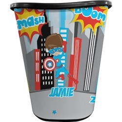 Superhero in the City Waste Basket - Double Sided (Black) (Personalized)