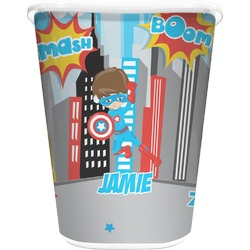 Superhero in the City Waste Basket - Double Sided (White) (Personalized)