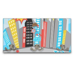 Superhero in the City Wall Mounted Coat Rack (Personalized)