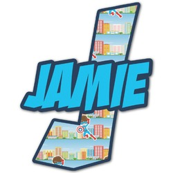 Superhero in the City Name & Initial Decal - Custom Sized (Personalized)
