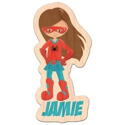 Superhero in the City Genuine Wood Sticker (Personalized)
