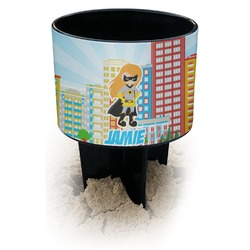 Superhero in the City Black Beach Spiker Drink Holder (Personalized)