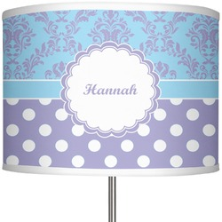 "Purple Damask & Dots 13"" Drum Lamp Shade (Personalized)"