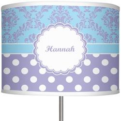 "Purple Damask & Dots 13"" Drum Lamp Shade (Personalized)"