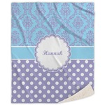 Purple Damask & Dots Sherpa Throw Blanket (Personalized)