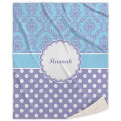 Purple Damask & Dots Sherpa Throw Blanket (Personalized)