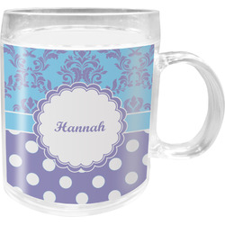 Purple Damask & Dots Acrylic Kids Mug (Personalized)