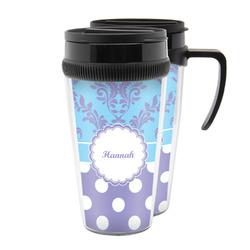 Purple Damask & Dots Acrylic Travel Mugs (Personalized)