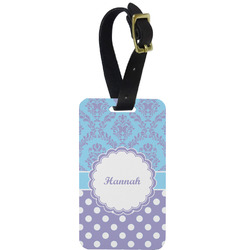 Purple Damask & Dots Aluminum Luggage Tag (Personalized)