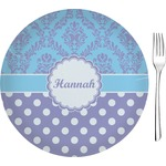"Purple Damask & Dots Glass Appetizer / Dessert Plates 8"" - Single or Set (Personalized)"