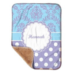 "Purple Damask & Dots Sherpa Baby Blanket 30"" x 40"" (Personalized)"