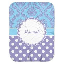 Purple Damask & Dots Baby Swaddling Blanket (Personalized)
