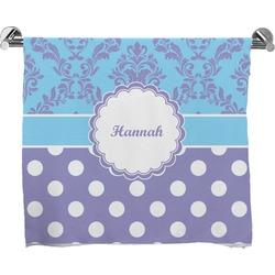 Purple Damask & Dots Full Print Bath Towel (Personalized)