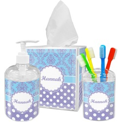 Purple Damask & Dots Bathroom Accessories Set (Personalized)