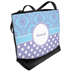 Purple Damask & Dots Beach Tote Bag (Personalized)