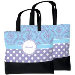 Purple Damask & Dots Beach Tote Bag (Personalized)