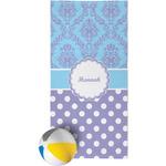 Purple Damask & Dots Beach Towel (Personalized)