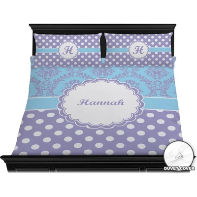 Purple Damask & Dots Duvet Cover Set - King (Personalized)